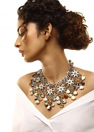 Grey Toned Necklace With Ochre Stones And Kundan In Floral Motifs Along With Dangling Stone Drops And Bead Fringes By Kohar