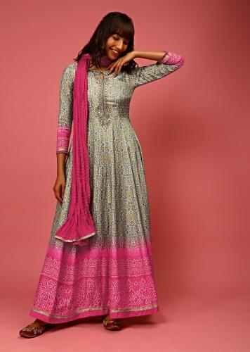 Grey And Magenta Ombre Anarkali Suit In Cotton Silk With Bandhani Design And Gotta Patti Embroidered Placket Online - Kalki Fashion