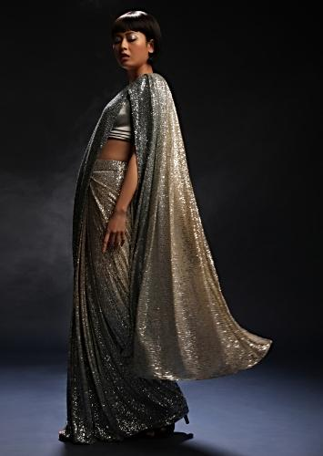 Grey And Silver Ombre Ready Pleated Saree In Sequins Fabric And Grey Velvet Blouse With Front Cut Out Online - Kalki Fashion
