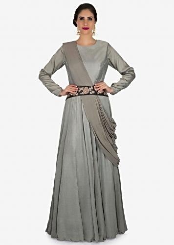 bf0cebb245 Grey gown in crepe with ready pleated dupatta adorn in zardosi embroidery  work only on Kalki