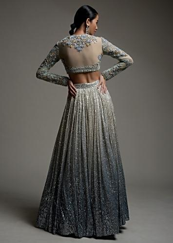 Grey Ombre Lehenga In Sequins Fabric With A Resham And Cut Dana Embroidered Choli Online - Kalki Fashion