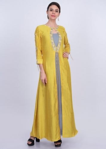 de9d153a9 Greyish blue georgette tunic dress with yellow attached top layer only on  Kalki