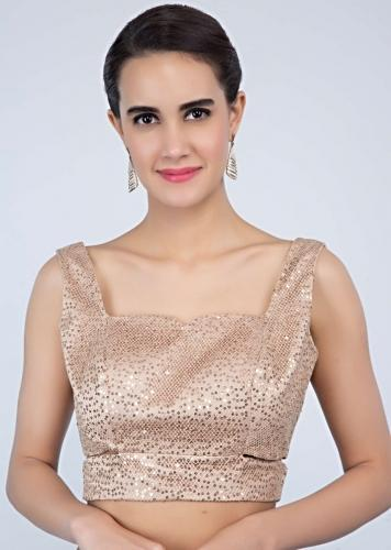 Honey Beige In Fancy Sequins Fabric With Cut Outs On The Side Online - Kalki Fashion