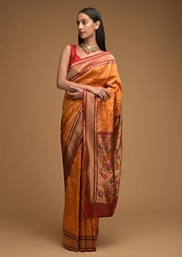 Honey Yellow Banarasi Saree In Silk With Brocade Woven Floral Jaal And Maroon Brocade Border Along With Unstitched Blouse Online - Kalki Fashion