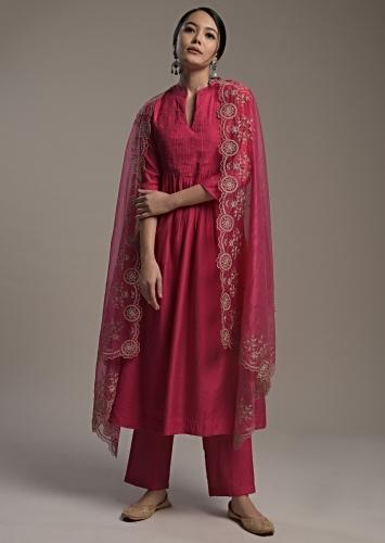 Hot Pink A Line Suit In Cotton With Pin Tucks Detailing And Teamed With A Zari Embroidered Organza Dupatta Online - Kalki Fashion