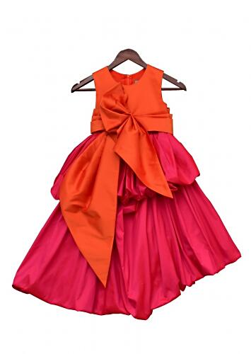 Hot Pink And Orange Gown In Taffeta Silk With An Elaborate Bow By Fayon Kids