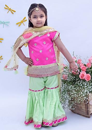 Hot Pink And Pista Green Sharara Suit In Dupion Silk With Floral Embroidered Buttis By Fayon Kids