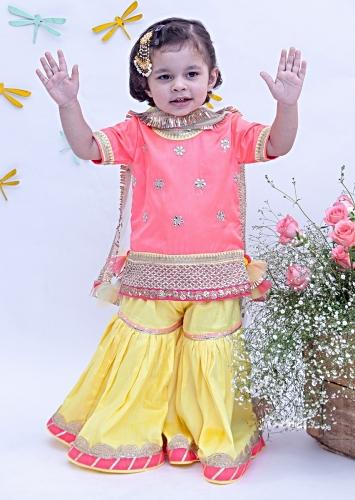 Hot Pink And Yellow Sharara Suit In Dupion Silk With Floral Embroidered Buttis By Fayon Kids