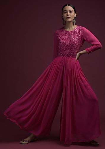 Hot Pink Jumpsuit In Georgette With Heavily Embroidered Bodice In Mirror Abla Work Online - Kalki Fashion