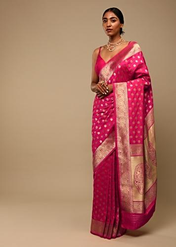 Hot Pink Saree In Pure Handloom Silk With Woven Floral Buttis, Paisley Motifs On The Pallu And Unstitched Blouse Online - Kalki Fashion