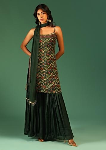 Hunter Green Sharara Suit In Chiffon With Patola Print All Over And Spaghetti Straps Online - Kalki Fashion