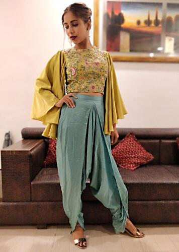 11e8a6aa3bc3 Muted Gold Heavy Satin Top and Blue Mul Cotton Dhoti Pants Set Only on Kalki