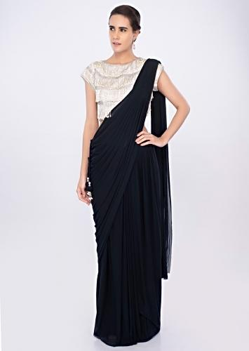 ddd9f9cb0e0 Twilight blue ready plated lycra saree skirt paired with matching ...