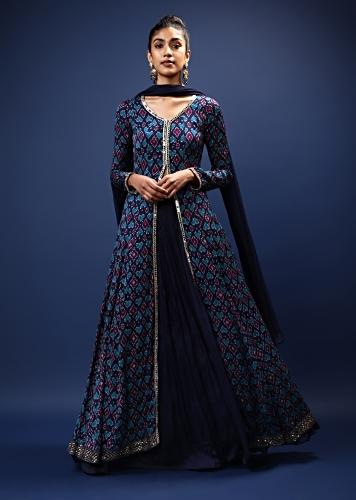 Indigo Blue Skirt And Long Slit Kurti With Jaal Print And Mirror Work On The Placket Online - Kalki Fashion