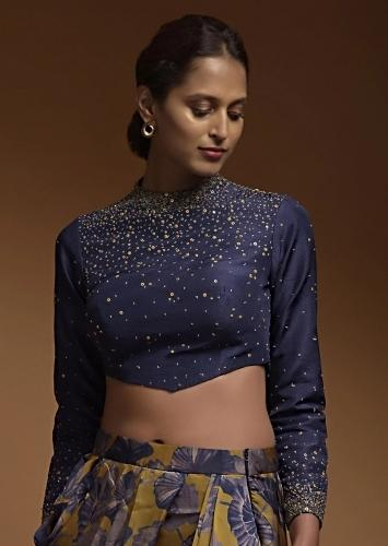 Indigo Crop Top In Silk Blend With Sequins And Beads Work In Gradient Pattern And Full Sleeves Online - Kalki Fashion