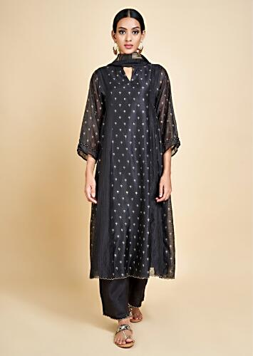 Ink Black A Line Suit In Cotton Silk With Foil Printed Buttis And Zari Weaved Stripes Online - Kalki Fashion