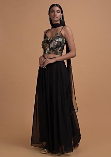 Ink Black Palazzo Suit With Heavily Embellished Crop Top Online - Kalki Fashion