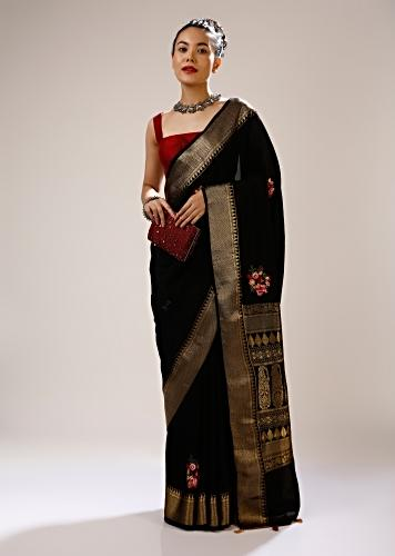 Ink Black Saree In Silk Blend With Checks Weave, Multi Colored Bud Embroidered Floral Motifs And Brocade Border Online - Kalki Fashion