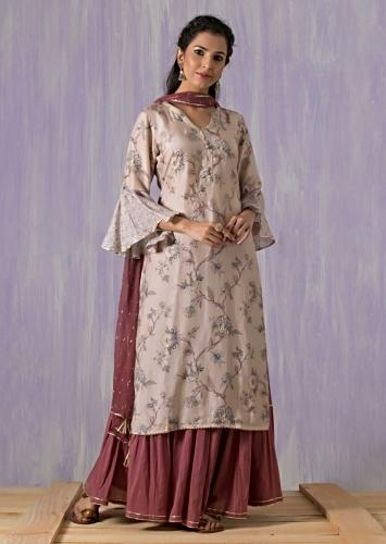 Ivory Beige Suit In Cotton With Floral Print And Mauve Sharara Bottoms Online - Kalki Fashion