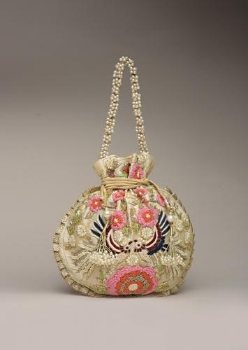 Ivory Gold Potli Bag In Raw Silk With Hand Embroidered Floral Design Using Thread And Zardosi Online - Kalki Fashion