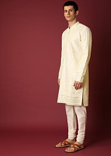 Ivory Kurta Set In Raw Silk With Lucknowi Thread And Zari Embroidered Floral Jaal Online - Kalki Fashion