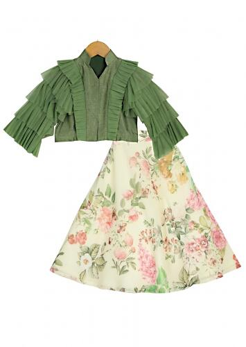 Ivory Lehenga With Floral Print And Green Ruffle Crop Top Online - Free Sparrow