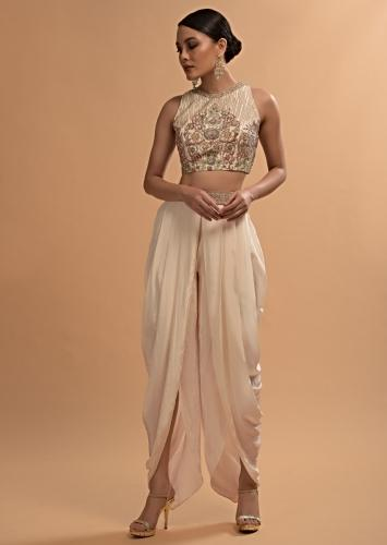 Ivory Tulip Dhoti And Crop Top Set With Embossed Floral Embroidery And High Neckline Online - Kalki Fashion