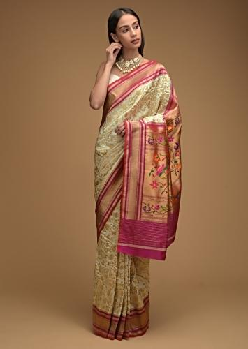 Ivory White Banarasi Saree In Silk With Brocade Woven Floral Jaal And Contrasting Magenta Brocade Border Along With Unstitched Blouse Online - Kalki Fashion