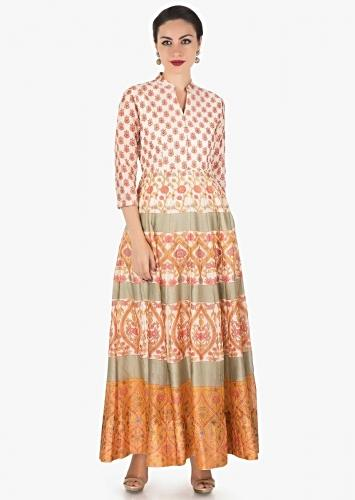 82379adc7c Ivory dress in cotton silk with pink and mustard floral print only on Kalki