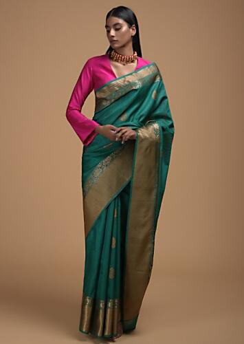Jade Green Pure Handloom Saree In Tussar Silk With Woven Leaf Shaped Buttis And Floral Border Online - Kalki Fashion
