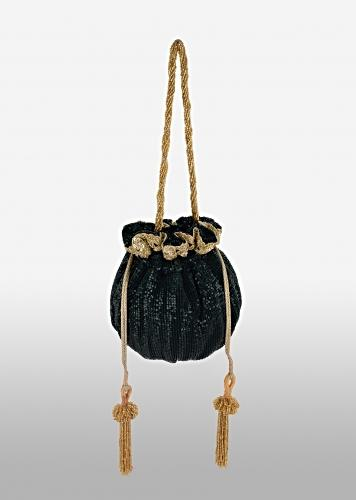 Jewel Green Potli Bag In Crushed Sequins Fabric With Cut Dana And Zardosi Embroidery Detailing Online - Kalki Fashion