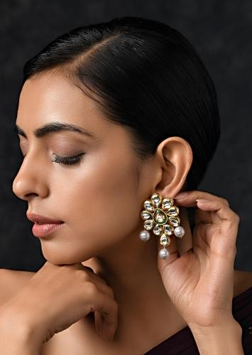 Gold Plated Earrings Studded With Kundan In Intricate Ethnic Floral Motif By Paisley Pop