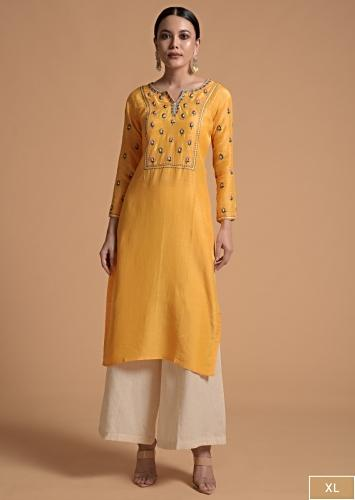 Canary Yellow Kurti In Cotton Silk With Resham And Sequins Embroidery And Matching Facemask Online - Kalki Fashion