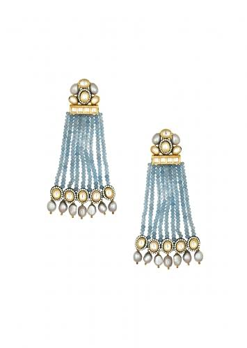 Kundan Polki Earrings Studded With Fresh Water Pearls And Crystal Blue Agate Beads Strings Online - Joules By Radhika