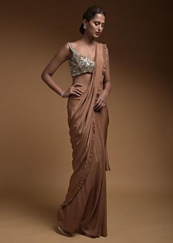 Latte Brown Ready Pleated Saree In Crepe With Pleated Frill On The Pallu And Hand Crafted Crop Top Online - Kalki Fashion