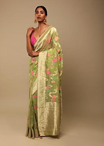 Leaf Green Saree In Organza With Multi Colored Woven Floral Jaal And Moroccan Motifs On The Pallu Along With Unstitched Blouse Online - Kalki Fashion