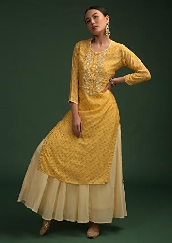 Lemon Yellow Straight Cut Kurti In Cotton With Printed Floral Buttis And Moti Highlighted Yoke Online - Kalki Fashion