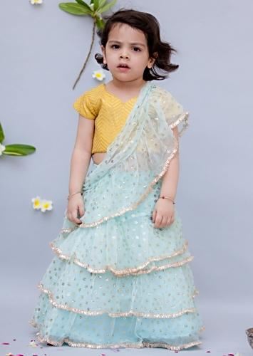 Light Blue Ready Stitched Saree With Ruffle Layers And Yellow Crop Top By Fayon Kids