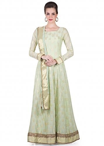 d690420cb Light Green Churidar Kameez Ensemble Styled with Lurex and Lace Border only  on Kalki