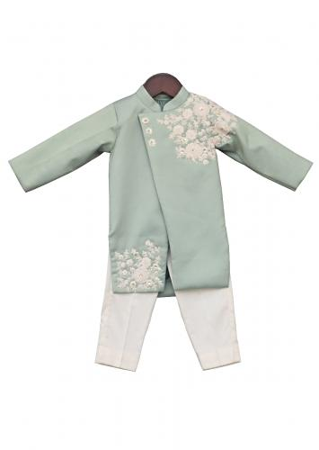 Light Green Ajkan With Embroidery Work And Off White Churidar by Fayon Kids