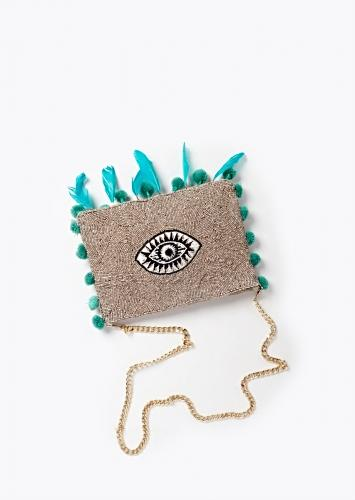 Light Grey Sling Bag With Thread Embroidered Evil Eye, Pompoms And Feathers By Sole House