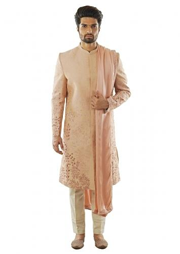 Light Mauve Sherwani With Shaded Jaal Embroidery Paired With A Dupatta And Cream Pant Pajama. Online - Kalki Fashion