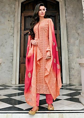 217078d508 Light peach straight suit in chiffon with checks motif in thread embroidery