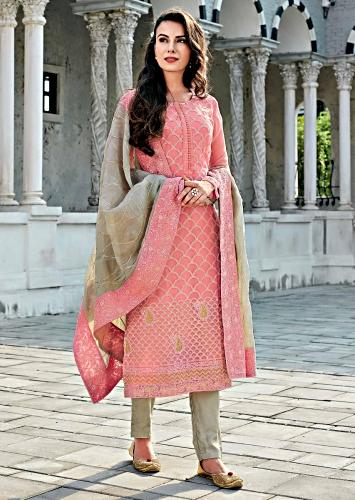 d9273f116ab Light pink straight suit in chiffon with Moroccan motif embroidery