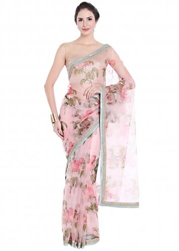 b0592c48f Lilac pink saree embellished in floral motif with contrast border only on  Kalki