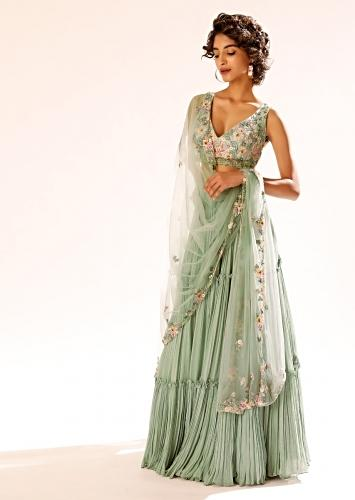 Lily Green Tiered Lehenga With Colorful Resham And Moti Embroidery In Floral Motifs Online - Kalki Fashion