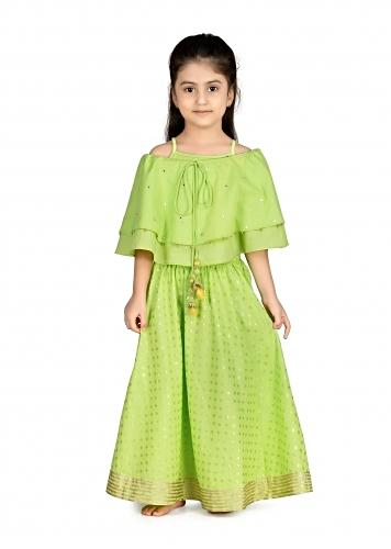 Lime Green Lehenga And Off Shoulder Cape Crop Top In Cotton With Polka Dots Embroidery By Mini Chic