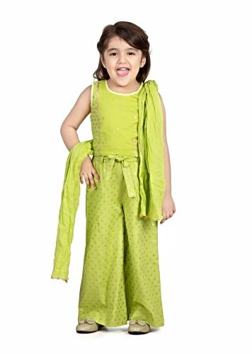 Lime Green Palazzo And Crop Top Set With Green Polka Dots And Embroidery Detailing By Mini Chic