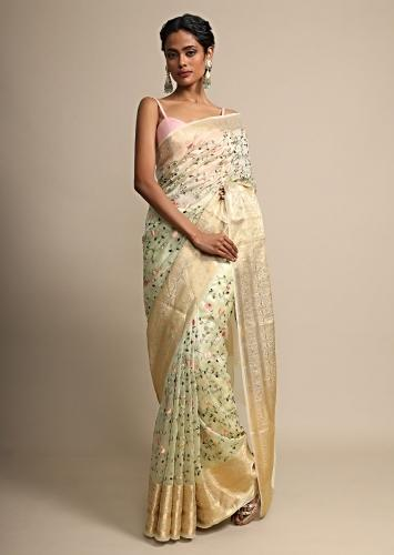 Lime Yellow Organza Saree With Multi Color ReshamEmbroidered Jaal Work Online - Kalki Fashion