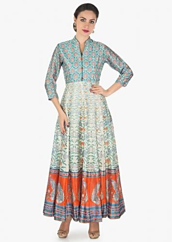 4b5e078797414 Long dress featuring in cotton silk with multi color print only on Kalki